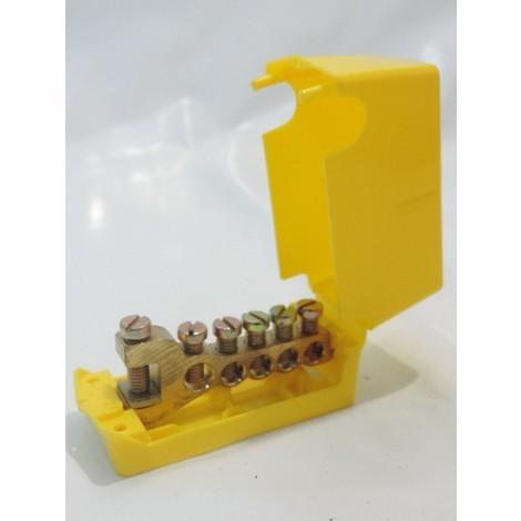 Répartiteur de terre 5 départs 1 arrivée pour câble 35mm² max avec cache isolant plastique jaune SIB ADR P04350