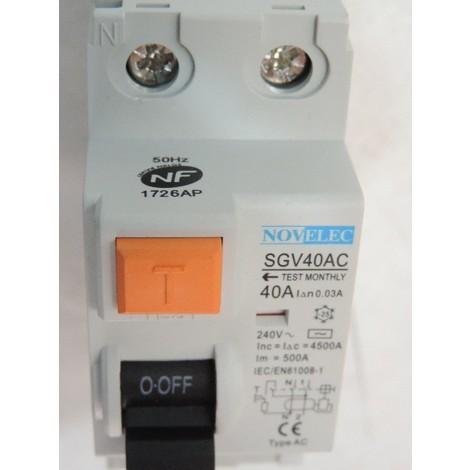 Interrupteur différentiel 40A 2P 30mA type AC borne vis norme NF RCCB NOVELEC SGV40AC