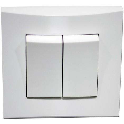 Double poussoir blanc 10A O/F 250V encastré connexion auto fixation vis avec plaque de finition ALTERNATIVE ELEC AE52007-P