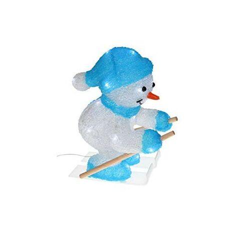 Bonhomme de neige skieur lumineux LED blanc pur acrylique 3D 250X330mm 3.6W avec alim 4.5V Blachere JTA009