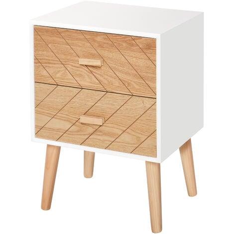 HOMCOM Nordic Style 2 Drawers Side Cabinet Wooden Bedside Scandinavian