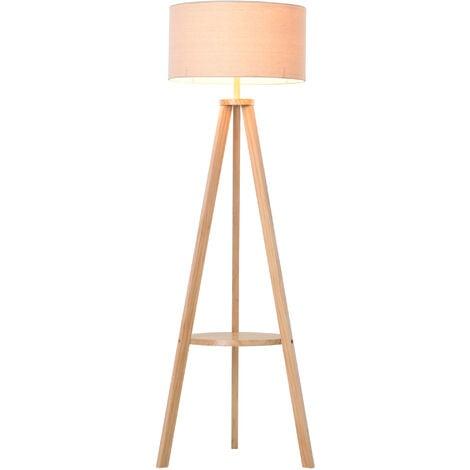 Homcom Free Standing Tripod Floor Lamp, Oak Floor Lamp With Shelves Uk