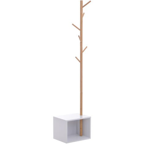 "HOMCOM 71"" Coat Rack Storage Bench Hallway Tree Hat Hanger Bamboo MDF"