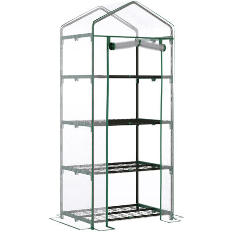 Outsunny Portable 4-Tier Clear Mini Greenhouse Plants Flowers Vegetables Garden