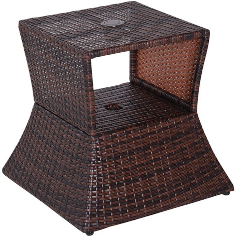Outsunny Outdoor Patio Rattan Wicker Coffee Table Side Table w/ Umbrella Hole