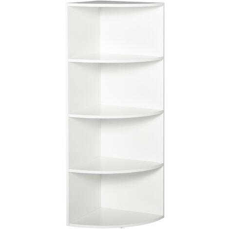 HOMCOM 4 Tier Wood Corner Shelf Freestanding Bookshelf Plants Stand White