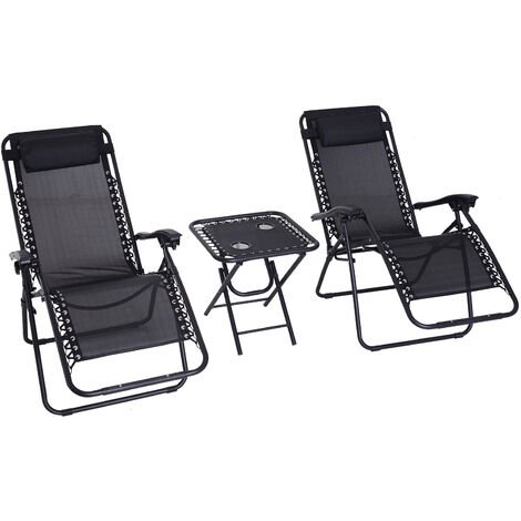 Outsunny 3pcs Sun Lounger Set Reclining Folding Zero Gravity Chair Table Black