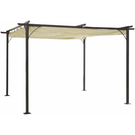 Outsunny Steel Pergola Gazebo Garden Awning Retractable Canopy Outdoor Shade 230cm