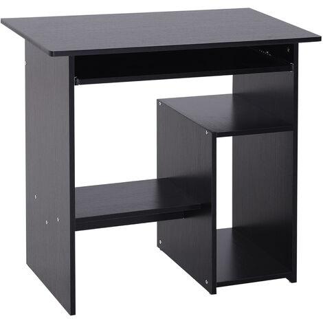 HOMCOM Modern Compact Computer Desk Keyboard Tray Storage Corner Home Office Black