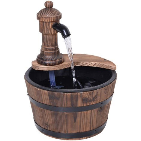 Outsunny Barrel Water Fountain Rustic Wood Electric Water Feature w/ Pump Garden Outdoor