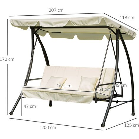Outsunny 3 Seat Swing Chair 2-in-1 Hammock Bed Patio Garden Cushion Outdoor w/ Canopy