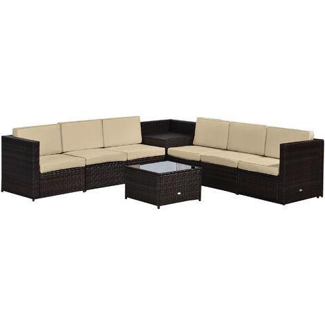 Outsunny 8 Pc Rattan Sofa Set 6 Seats 2, Outsunny Outdoor Furniture