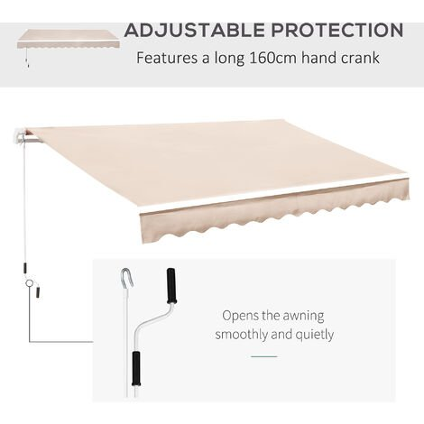 Outsunny 3 x 2.5m Garden Manual Retractable Awning Sunshade w/ Winding Handle - Beige