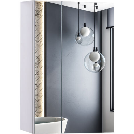 HOMCOM Stainless Steel Wall mounted Bathroom Mirror Cabinet Double Doors 430W (mm)