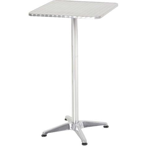 HOMCOM Height Adjustable Bistro Table Pub Bar Square Table Stainless Steel Top Aluminium Edge 60 x 60cm