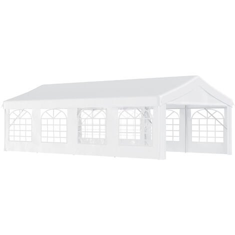 Outsunny Gazebo Marquee Party Tent Wedding Portable Garage Steel Frame Waterproof - 8x4m