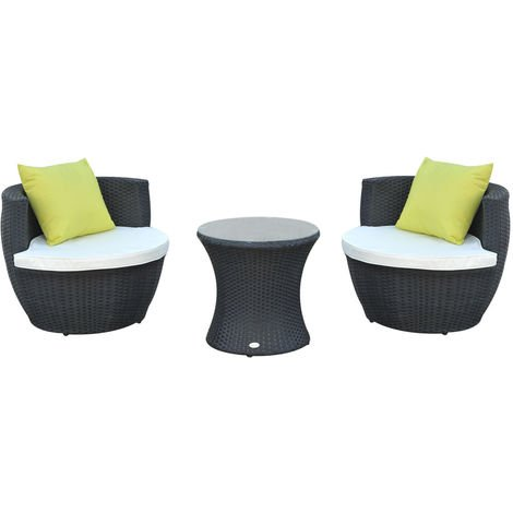 Outsunny Conservatory Patio Rattan Furniture Vase Chair Set Stackable - Black