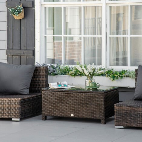 Outsunny Rattan Coffee Table Patio Metal Frame Tempered Glass - Brown