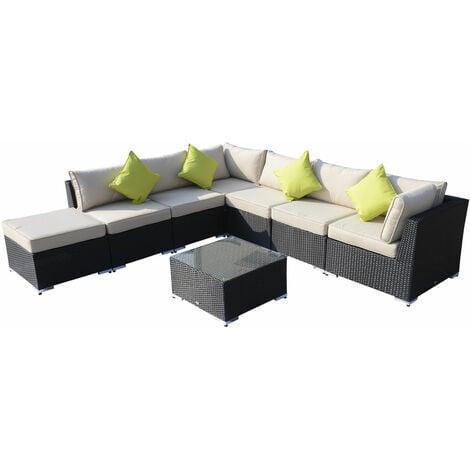 Outsunny 8pcs Rattan Sofa Garden Furniture Sofa Set Wicker w/ Cushions - Black