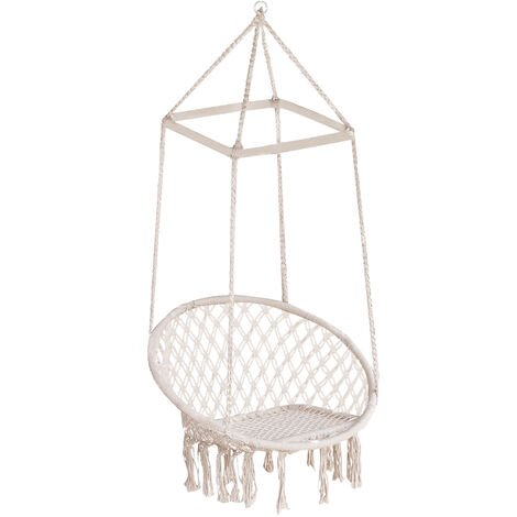 Outsunny Swing Rope Hammock Hanging Chair Twisted Tassels Outdoor Garden Beige