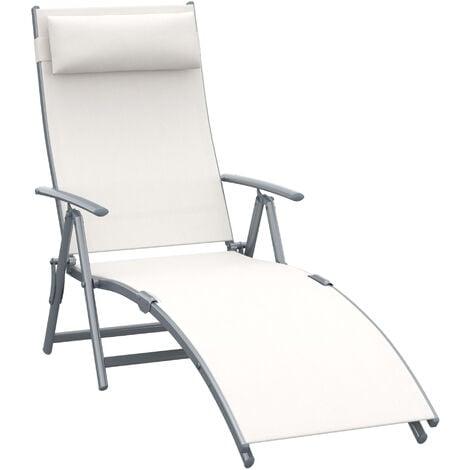 Outsunny Textilene Sun Lounger Recliner Chair Patio Foldable Garden 5 Levels - Cream White