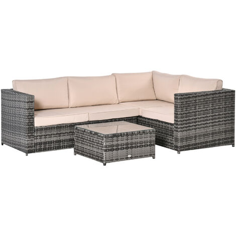 Outsunny 3 Pc Rattan Dining Sofa Set Table Garden Furniture Outdoor w/ Cushions Grey