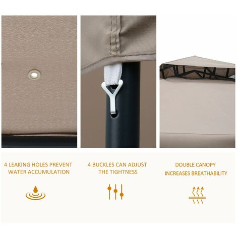 Outsunny Steel Outdoor Gazebo Canopy Event Shelter Sunshade w/ Netting & Roof 2.95m