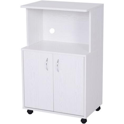 HOMCOM Rolling Kitchen Trolley Cart 2-Door Cabinet Storage w/ Wheels White