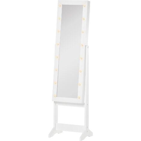 HOMCOM Freestanding LED Mirrored Jewellery Storage Cabinet Unit Armoire White