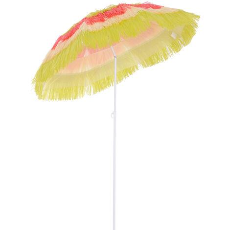 Outsunny Hawaii Beach Umbrella Sunshade Foldable Tilt + Crank Parasol - Multicolor