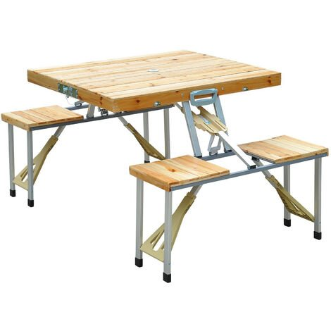 Outsunny Portable Wooden Folding Camping Picnic Table Garden BBQ Chairs Stools Set
