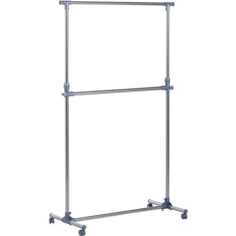 HOMCOM Heavy Duty Clothes Hanger Garment Rail Hanging Display Stand Rack w/ Wheels Adjustable