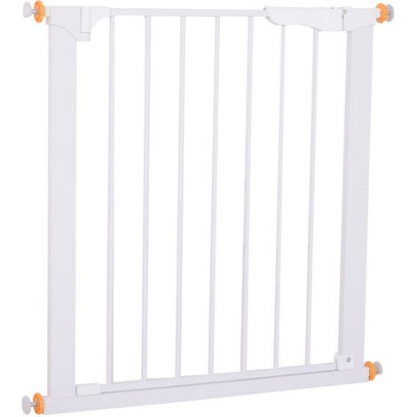 PawHut Pet Safety Gate Dog Cat Indoor Home Fence Pressure Release White