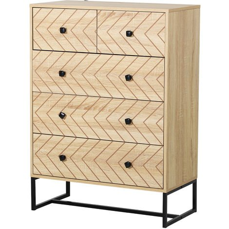 HOMCOM Zig Zag 5 Draw Chest Of Drawers Bedroom Storage w/ Metal Handles 110x40cm