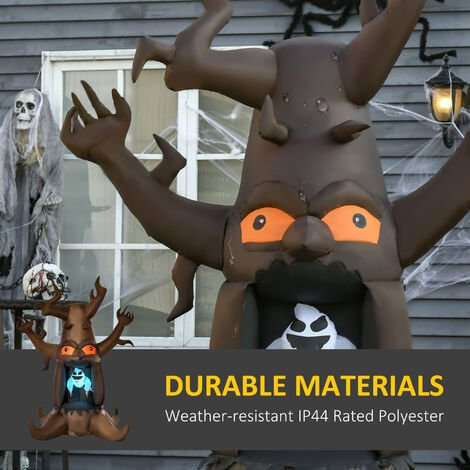HOMCOM Inflatable Fun LED Light Up Halloween Ghost Tree Outdoor Decoration w/ Fan 8FT