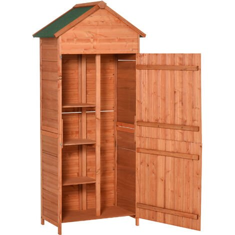 Outsunny 90 x 50cm Garden Shed Wood Tool Kit Storage Shelves with Double Door Lockable