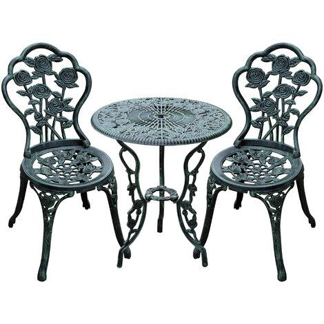 Outsunny 3PC Bistro Table Chair Set Cast Aluminum Patio Garden Outdoor Seat Elegant Design