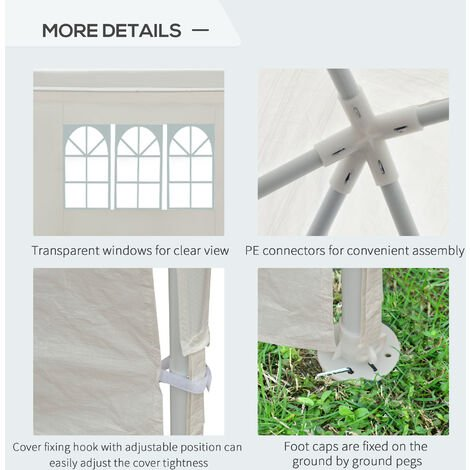 Outsunny Garden Gazebo Marquee Party Tent Wedding Canopy Outdoor (White, 6m x 3m)