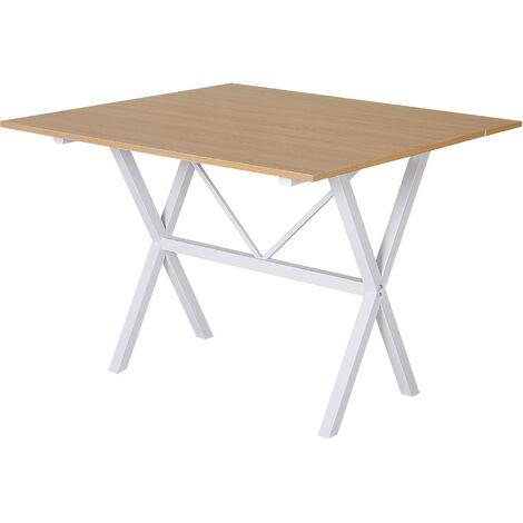 HOMCOM Drop Leaf Extending Dining Table Metal Frame MDF Top 6 Person Oak Tone