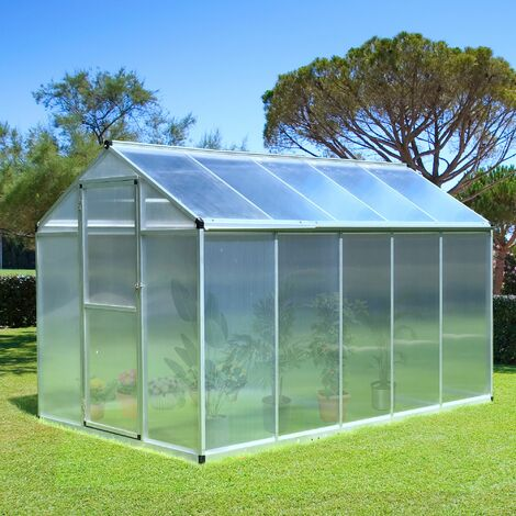 Outsunny Aluminium Frame Greenhouse 4mm PC Panels Outdoor w/ Base 195x302cm