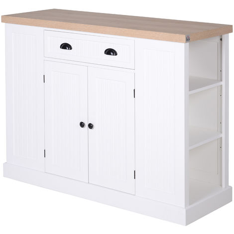 HOMCOM Freestanding Kitchen Island Home Storage w/ Drawer Cabinet Shelves White
