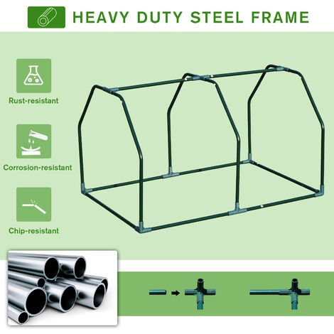 Outsunny Compact Tunnel Greenhouse Planter Shelter w/ Mesh Cover 60x99cm White