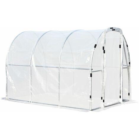 Outsunny Portable Plastic Greenhouse Walk In w/ Steel Frame Door 200x200cm
