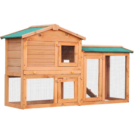 PawHut 2-Level Wood Rabbit House Hutch w/ Ourdoor Run Ramp 145 x 45 x 85 cm Natural