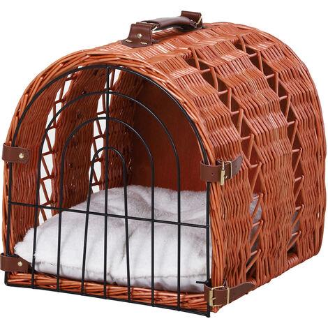 PawHut Natural Wicker Cat Basket Kitten Pet Transport w/ Handle Metal Door 28x37cm