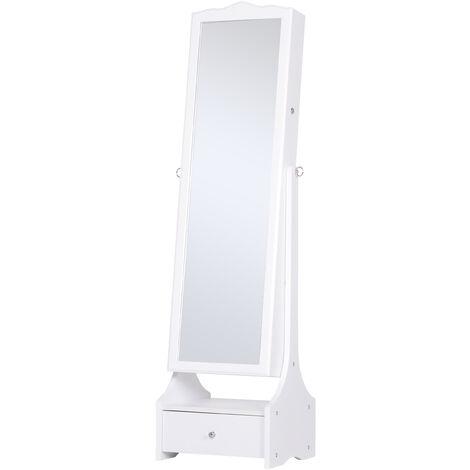 HOMCOM Longline Jewellery Mirror LED Armoire Freestanding w/ Lock Drawer White