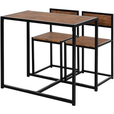 HOMCOM Industiral 3 Pcs Kitchen Dining Set High Back Stools Table Sleek