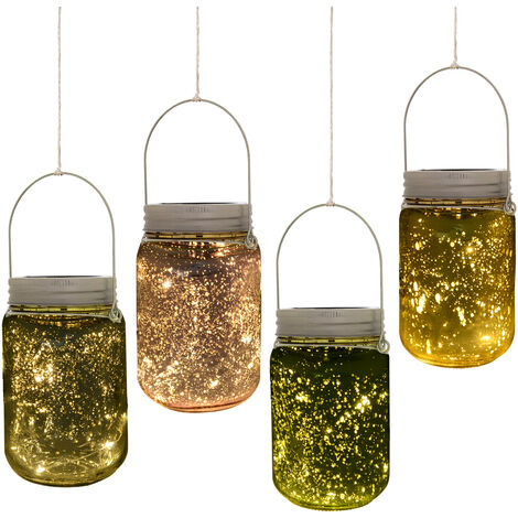 Outsunny Set Of 4 Fairy Light Jars Solar Powered Outdoor Light Mulitcoloured