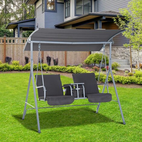 Outsunny 2 Seat Steel Garden Swing Seat w/ Storage Table 2 Cup Holders Black