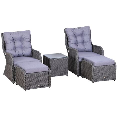 Outsunny 5 Pcs Rattan Set w/ 2 Chairs 2 Footstools Table Cushions Plastic Wicker Grey